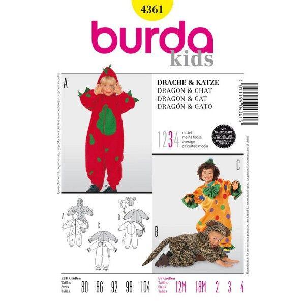 Burda Schnittmuster 4361 Kostüme für Drache oder Dino, Katze und Clown