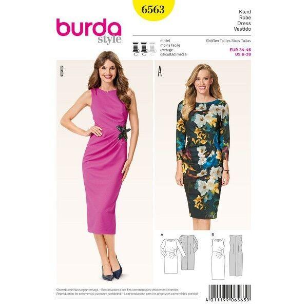 Asymmetrisches Kleid - Fältchen, Gr. 34 - 46, Schnittmuster Burda 6563