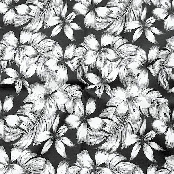 Stretch Baumwollstoff Floral Print Schwarz-Weiss