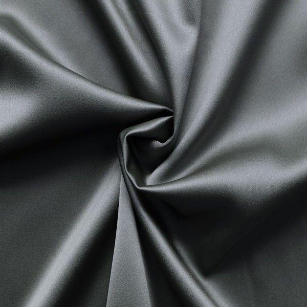 Stretch Satin Stoff 2 Farbe Stahl-Grau