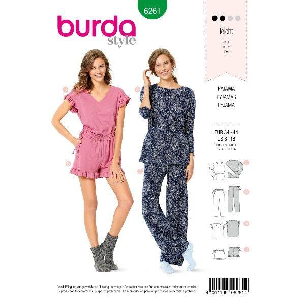 Pyjama –  Shorty-Pyjama, Gr. 34 - 44, Schnittmuster Burda 6261