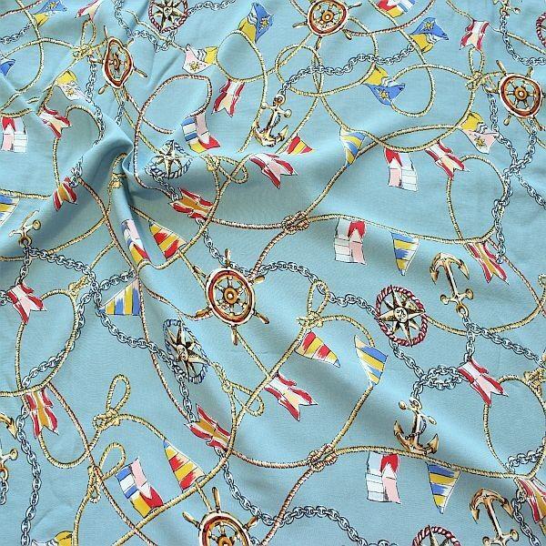 Viskose Javanaise Bänder & Ketten Maritim Tauben-Blau