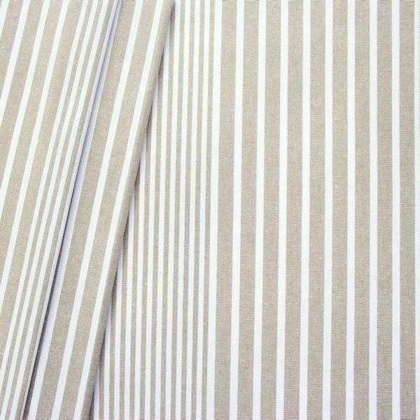 """Dekostoff """"Längsstreifen 3"""" Farbe Natur-Weiss"""
