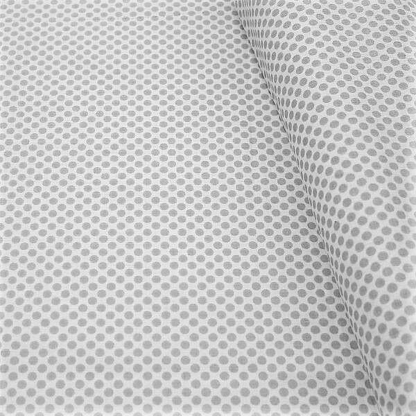 Baumwollstoff Dots Weiss-Grau
