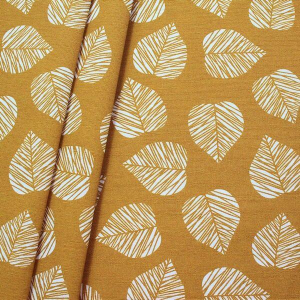 Dekostoff Blätter Ocker-Gelb