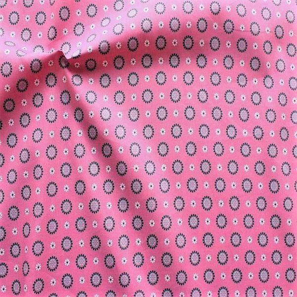 Baumwolle Popeline Blüten-Kreise Rosa