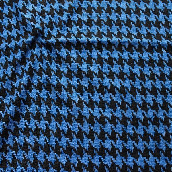 Wollmix Stoff Hahnentritt Groß Blau--Schwarz