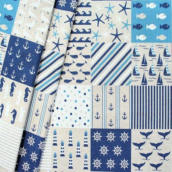 """Dekostoff """"Maritim Patchwork 3"""" Farbe Natur-Blau"""