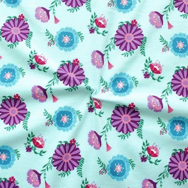 "Organic Baumwoll Stretch Jersey ""Blütenzauber"" Farbe Hell-Türkis"