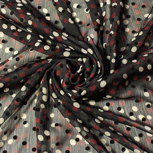 Crêpe Chiffon beflockt Dots Schwarz-Rot