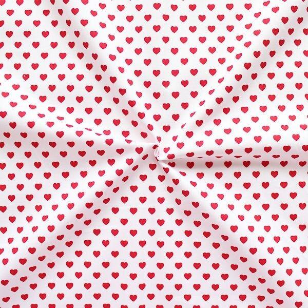 Baumwollstoff Herzen Weiss-Rot
