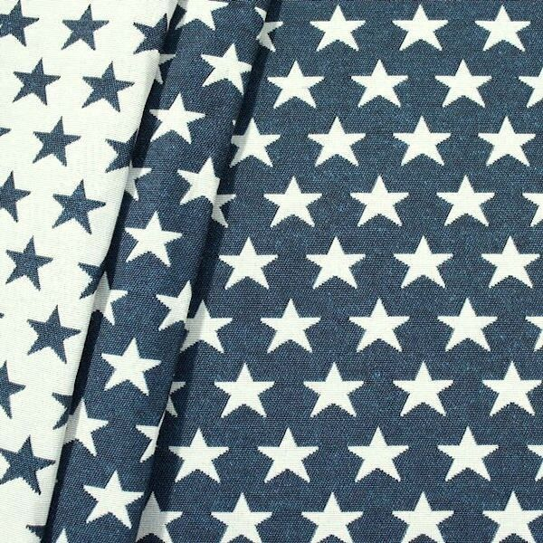 "Jacquard Dekostoff Doubleface ""Stars"" Farbe Blau-Weiss"