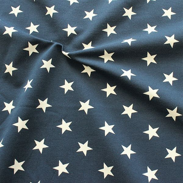 Sweatshirt Baumwollstoff French Terry Sterne Groß Dunkel-Blau