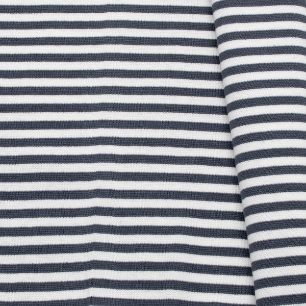 Baumwoll Bündchenstoff Ringel glatt Dunkel-Grau Weiss