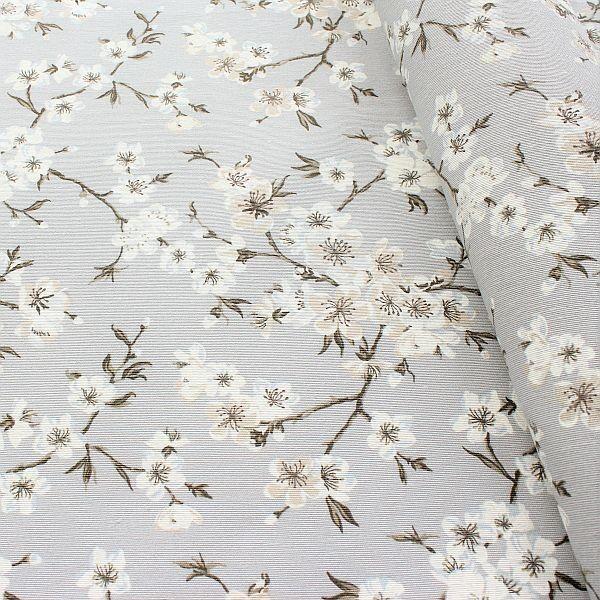 Dekostoff Kirschblüten Hell-Grau