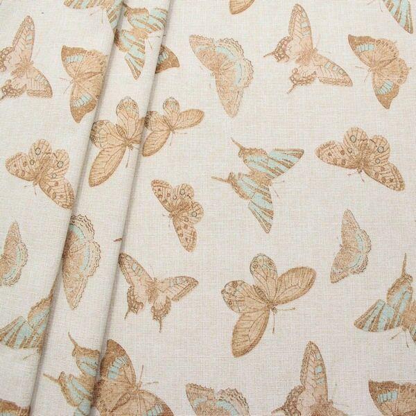 Dekostoff Butterfly Mix Hell-Beige Türkis meliert