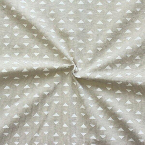 Baumwoll Stretch Jersey Dreiecke klein Beige