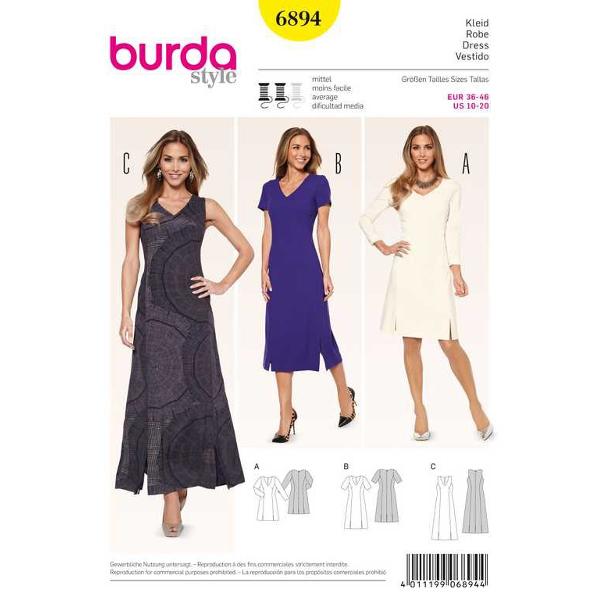 Kleid – Teilungsnähte – V-Ausschnitt, Gr. 36 - 46, Schnittmuster Burda 6894