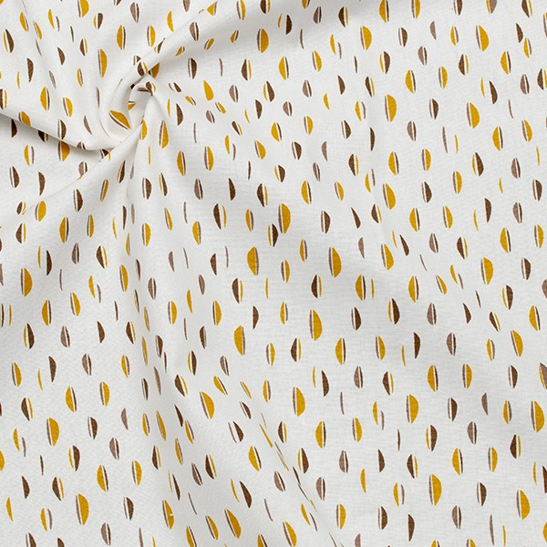 Bio Organic Baumwollstoff Popeline Abstrakt Design Ecru