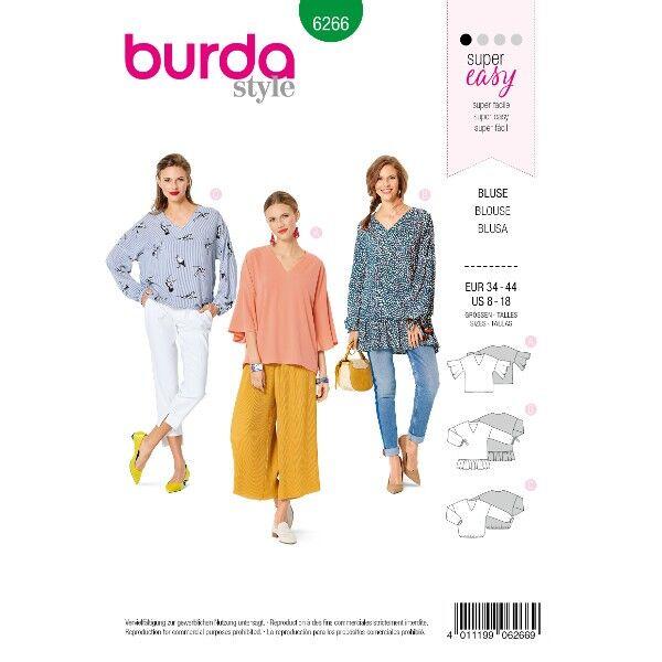 Weite Bluse – V-Ausschnitt –  Ärmelvarianten, Gr. 34 - 44, Schnittmuster Burda 6266