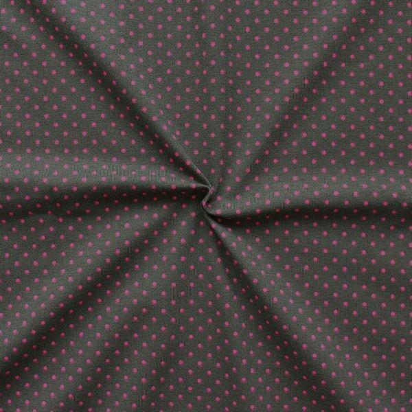 Baumwoll Stretch Jersey Punkte klein Dunkelbraun Pink