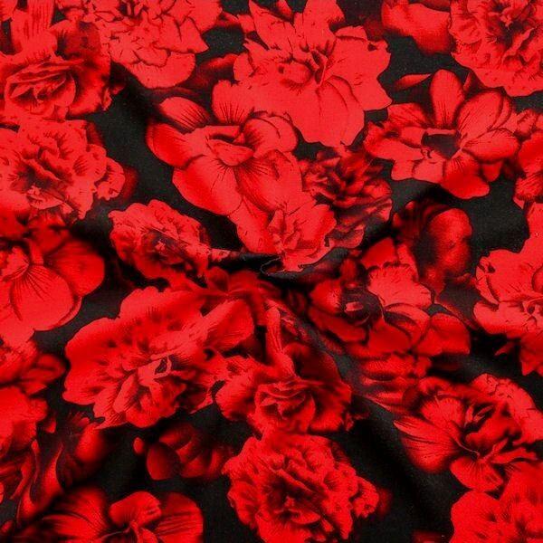 "100% Viskose Javanaise ""Rote Rosen"" Farbe Schwarz-Rot"