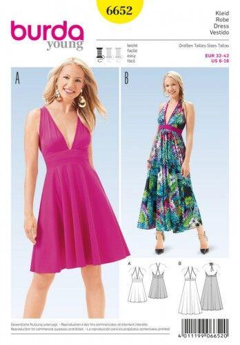 Kleid – Neckholder – Taillenblende – glockiger Rock, Gr. 32 - 42, Schnittmuster Burda 6652