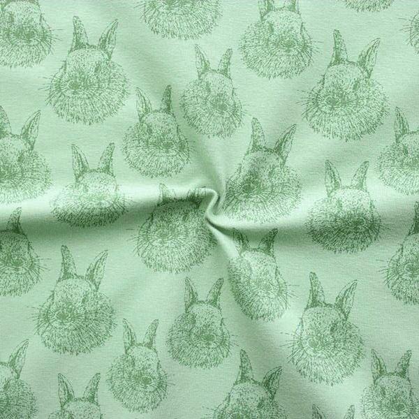 "Baumwoll Stretch Jersey ""Kaninchen"" Farbe Grün"