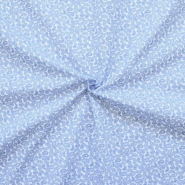 Polyester Baumwolle wie Batist Paisley mini Weiss Blau