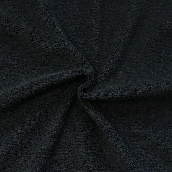 Stretch Micro Frottee Baumwollstoff Farbe Schwarz