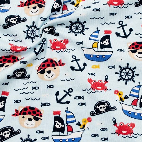 Baumwoll Stretch Jersey Piratenwelt Hell-Blau