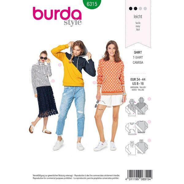 Kapuzenpullover, Sweatshirt, Streifen-Pullover, Gr. 34 - 44, Schnittmuster Burda 6315