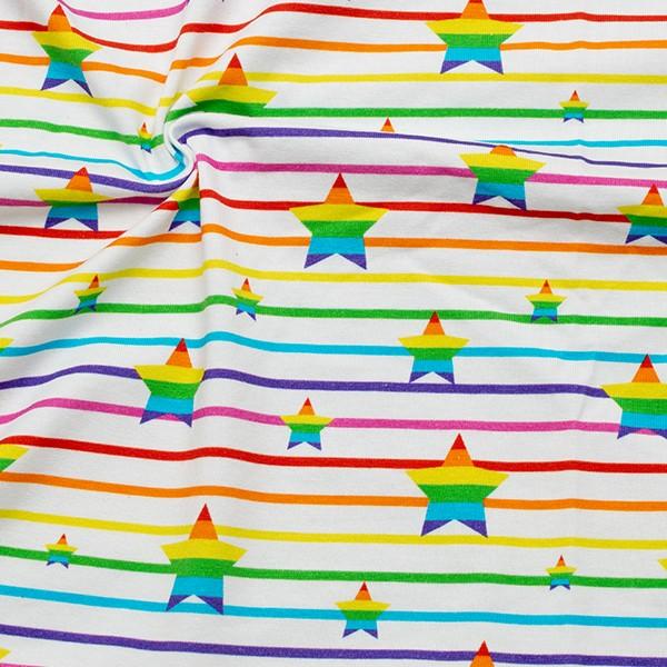 Baumwoll Stretch Jersey Regenbogen Sterne Weiss