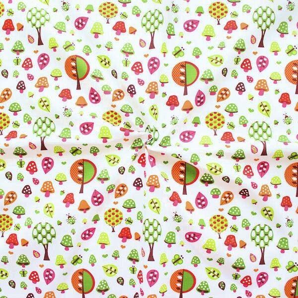"5,40 Meter 100% Baumwollstoff ""Waldfreude"" Farbe Weiss Multicolor"