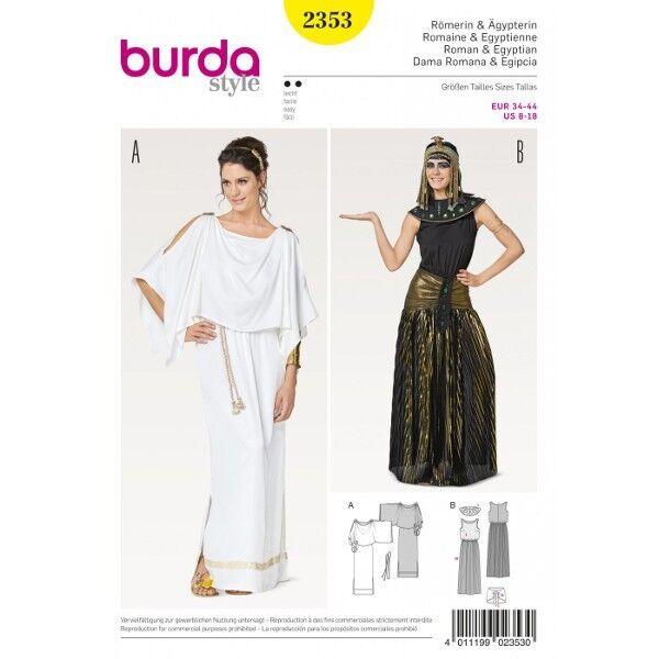 Römerin – Ägypterin – Kleid – Kragen – Gürtel, Gr. 32 - 44, Schnittmuster Burda 2353