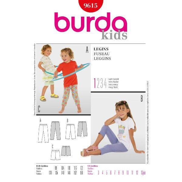 Burda 9615 Schnittmuster für Leggings in drei Längen - die vielseitige und bequeme Hose für Mädchen