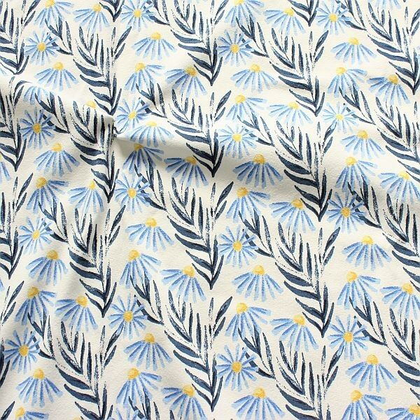 Baumwoll Stretch Jersey Blaue Astern Ecru-Blau