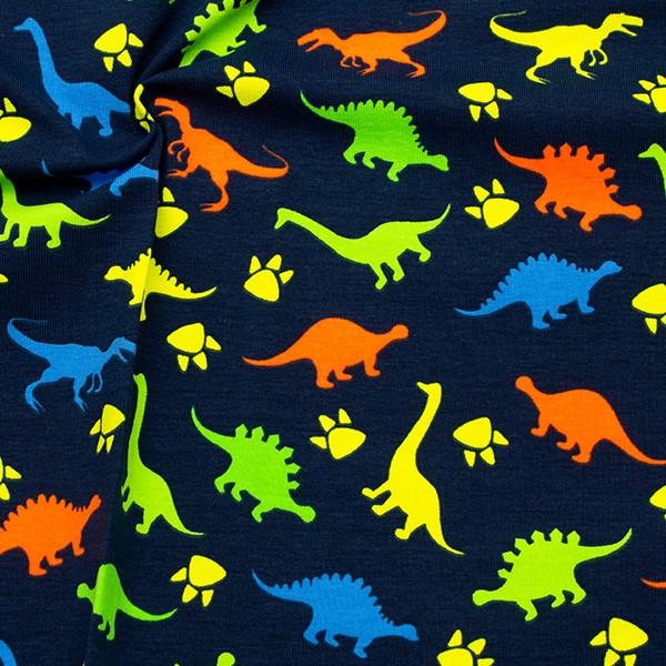 Baumwoll Stretch Jersey Neon Dinosaurier Marine-Blau