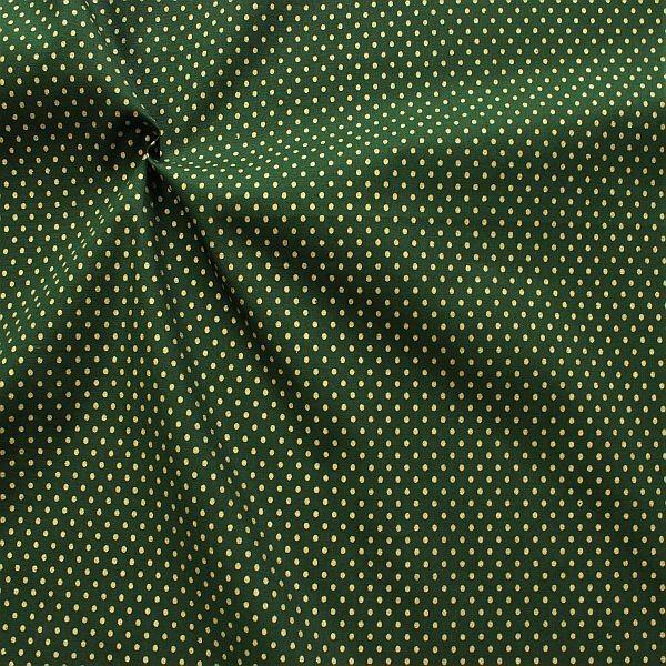 Baumwolle Popeline Gold Punkte klein Dunkel-Grün