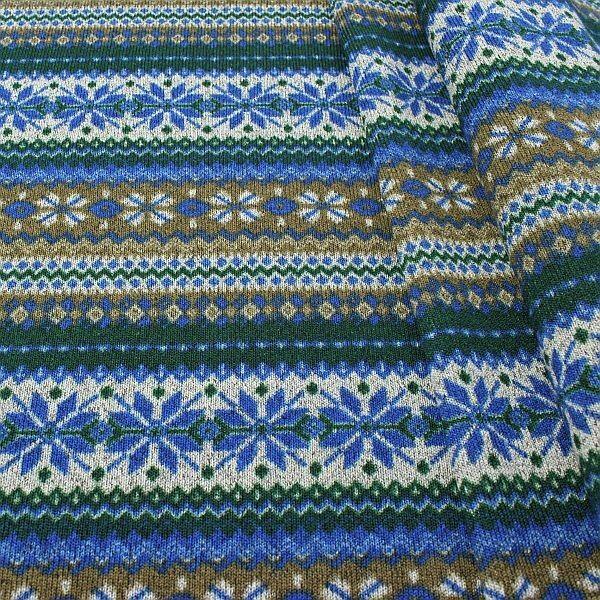 Strick Fleece Norweger Stern Blau-Grün