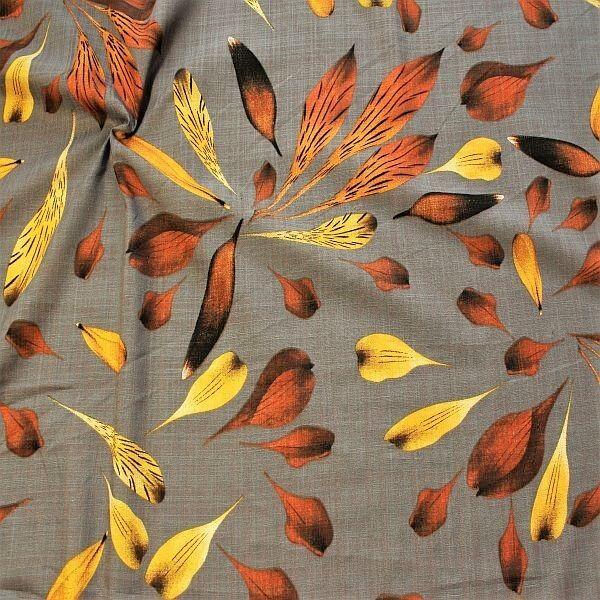Baumwolle Viskose Modestoff Dekostoff Blätter Grau