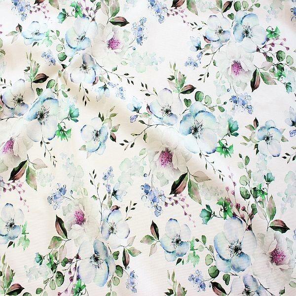 Baumwolle Dekostoff  Aquarell Blüten Creme-Weiss Blau