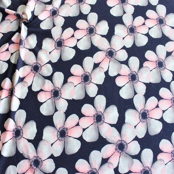 Viskose Stretch Jersey Blüten Blau-Rosa