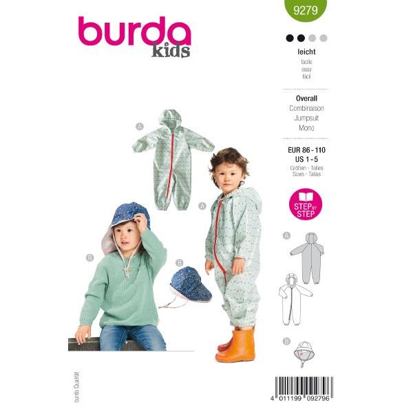 Overall und Hut Kinder, Gr. 86 - 110 Schnittmuster Burda 9279