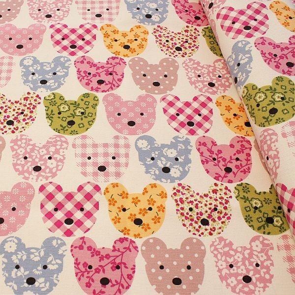 Baumwolle Canvas Patchwork Bären Creme-Weiss