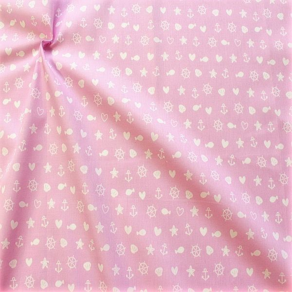 Baumwolle Popeline Maritimer Mix Rosa