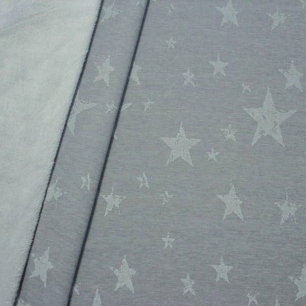 Alpenfleece Sweatshirt Sterne Mix Used Look Grau melange