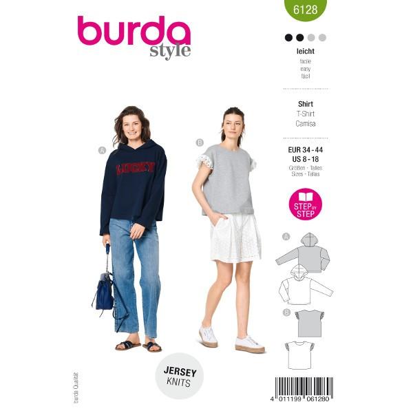 Hoodie und Shirt, Gr. 34 - 44 Schnittmuster Burda 6128