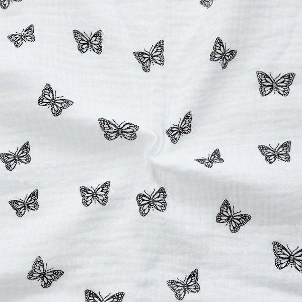 Baumwoll Musselin Double Gauze Schmetterlinge Weiss