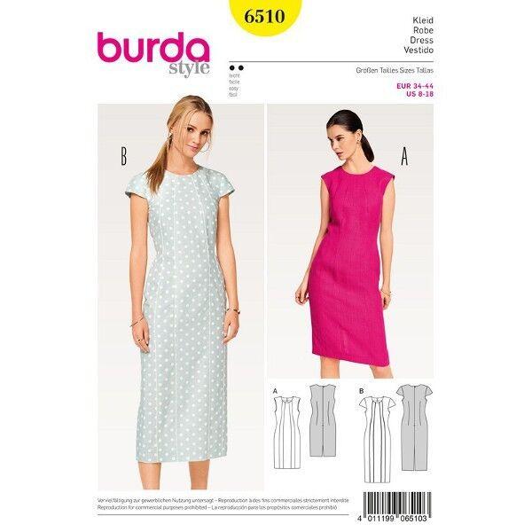 Kleid - Schiftkleid - Teilungsnähte, Gr. 34 - 44, Schnittmuster Burda 6510